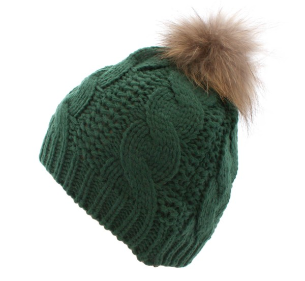Knitted Cap Real Fur Raccoon Winter Hat Wool