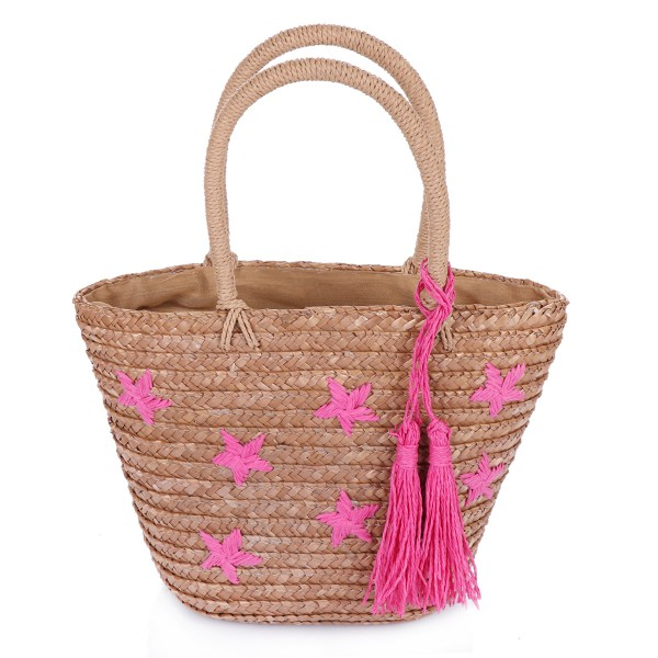 "XS Basket Bag ""Mini Stars"" Embroidery Tassel Shopper Summer"