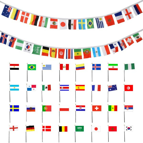 Fan Package Worldcup XXL Football Soccer Mini Flags Garland 8,5m Party SET-WM