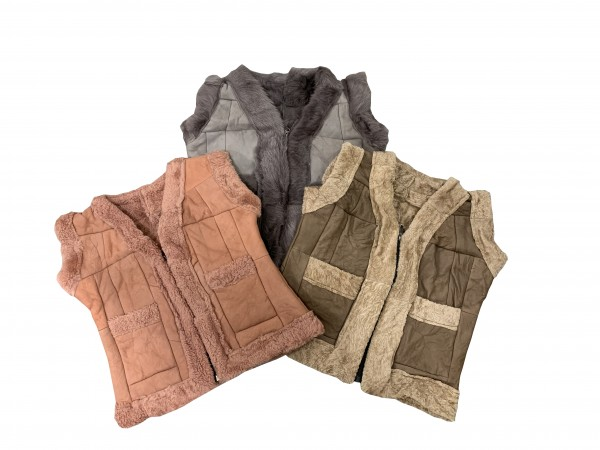 Children's Vest Natural Fur Leather Patchwork Kids Jacket Handmade