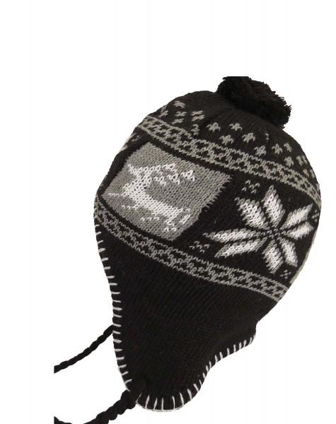 """Knitted Cap """"Elk2"""" Winter Heart Hat Fleece"""