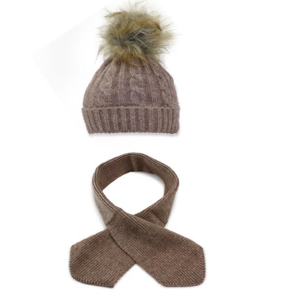 SET Kids Winter Beanie Hat Knit Faux Fur Pompom and Scarf