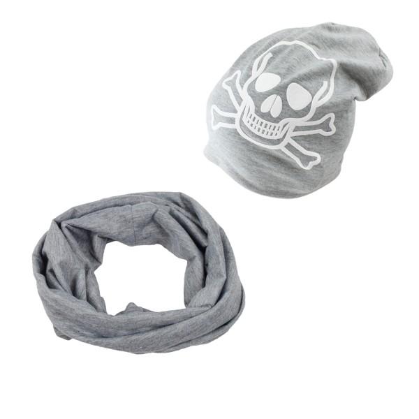 """SET Kinder Loop und Beanie """"Totenkopf"""" Pirat Halloween"""