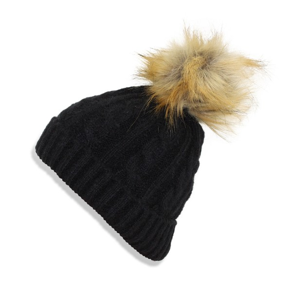 Kids Winter Beanie Hat Knit Faux Fur Pompom