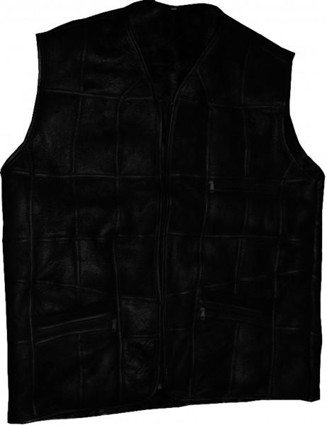 Gents Vest Jacket Lambfur Leather Patchwork