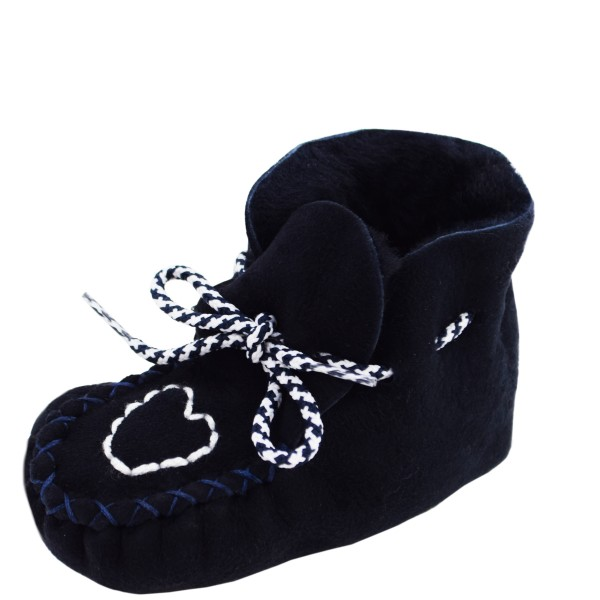 "Baby Indoor Slipper ""Heart"" Real Sheep Skin Leather Lamb Fur"