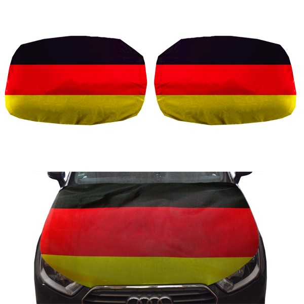 "Fan-Package ""Car"" Worldcup Countries Football Mirror Flag Bonnet SET-15"