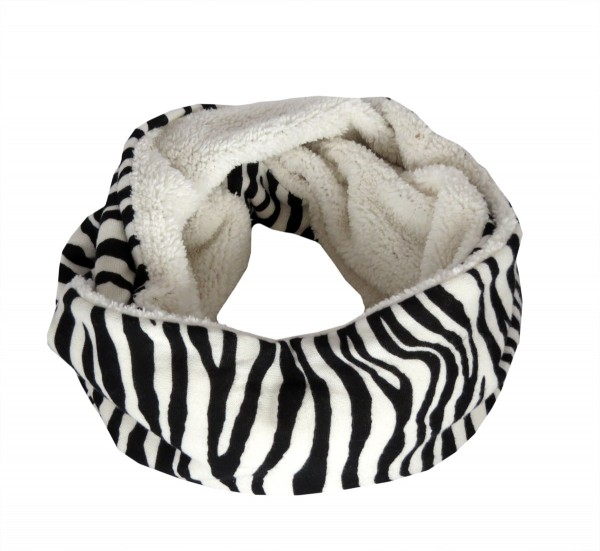 "Loop ""Zebra"" Scarf Teddy Fur Polyester Winter"