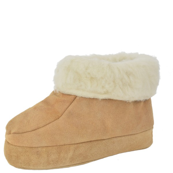 "Indoor Slipper ""Snowflake"" Real Leather Wool Lining Cozy Soft"