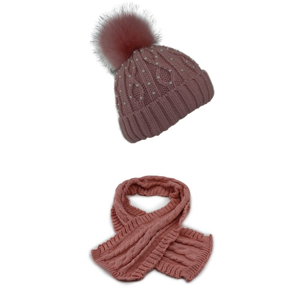 SET Winter Beanie Pearls Teddy fur XL Pompom and Scarf Cable Pattern