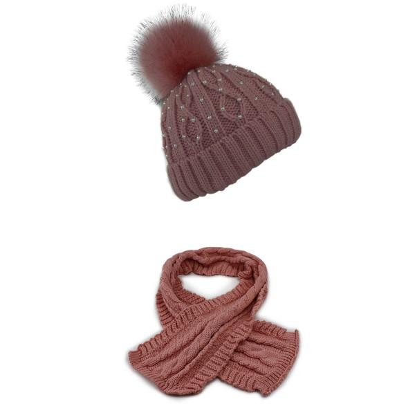 SET Winter Mütze Perlen Teddyfell XL Bommel und Schal Zopfmuster