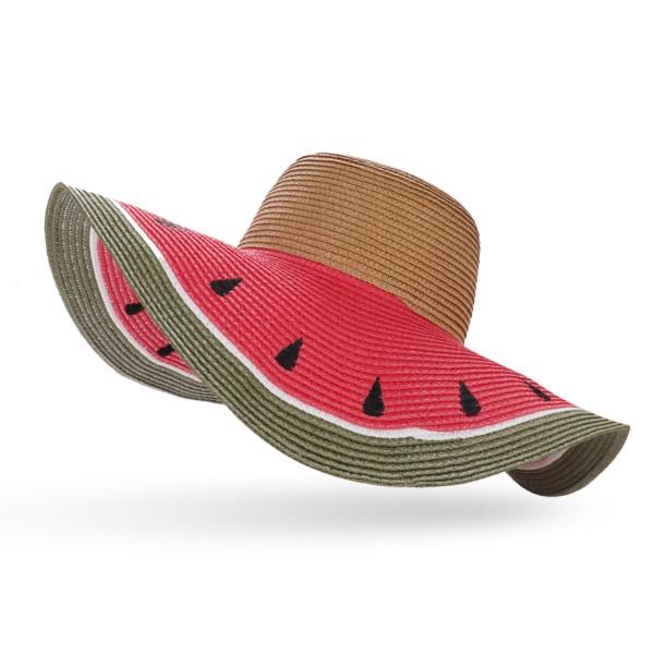 """XXL Straw Hat """"Melone"""" Ladies Summer Hat Headgear Beach"""
