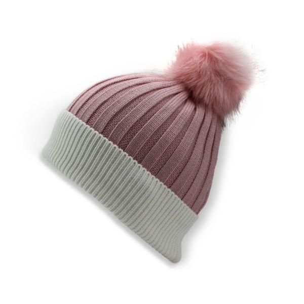 """Winter Beanie Hat """"Two Tones"""" Faux Fur Pompom"""
