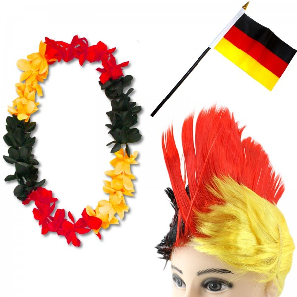 Fan Package Worldcup Football Wig Hawaiian Chain Flag Party SET-4-IRO