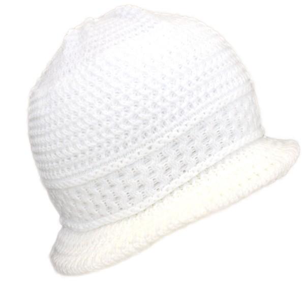 Strickhut Schirmmütze Winter Mütze Wolle Damen Weiß