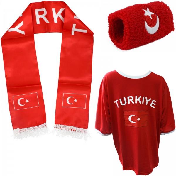 "Fan-Paket-7 ""Türkei"" WM Fußball Fan Shirt Schal Schweißband Party"