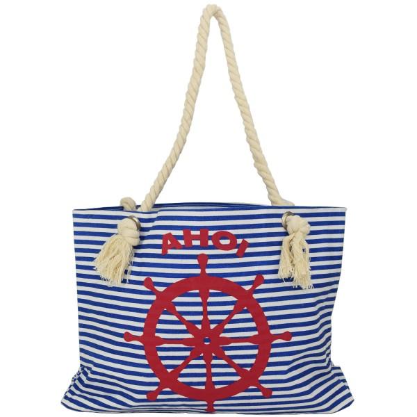 """Strandtasche """"Ahoi"""" mit Steuerrad klassisch maritim gestreift"""