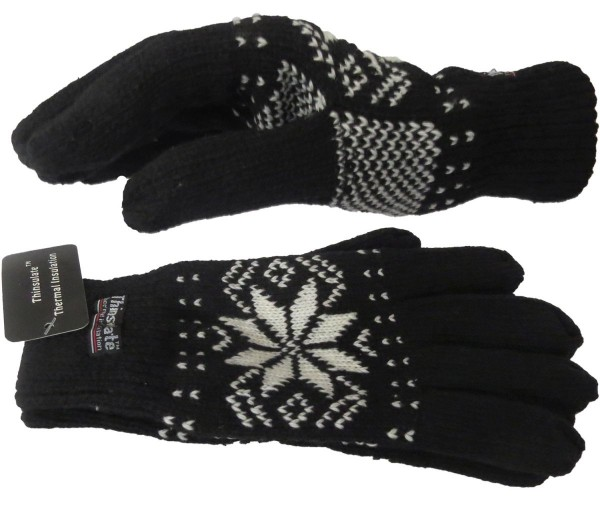 Strickhandschuhe Schnee Winter Finger Fleece Schneeflocke Unisex