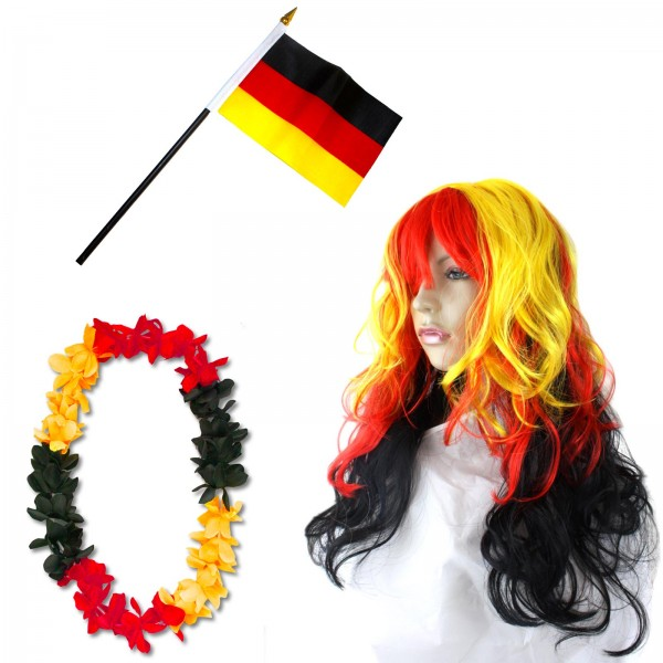 Fan-Paket-4 WM Fußball Locken Perücke Hawaiikette Flagge Party