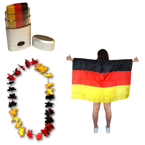 Fan-Paket-11 WM EM Fußball Fan Hawaiikette Schminkstift Poncho