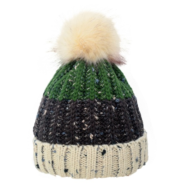 Bobble Hat XL Knitted Winter Cap Faux Fur Teddy Fur Unisex
