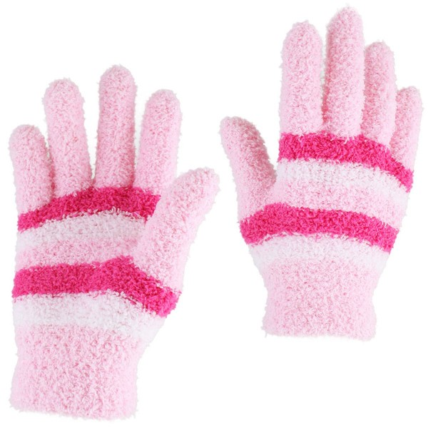 Kids Adults Gloves Cuddle Stripes Fluffy Colored