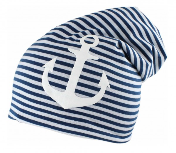 "Kids Fleece Beanie ""Anchor"" Stripes Winter Cap"