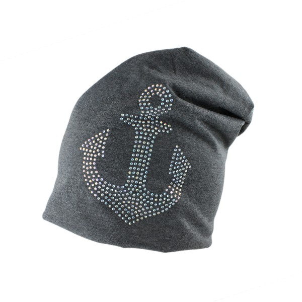 "Fleece Beanie ""Anchor Rhinestones"" Winter Unisex Jersey"