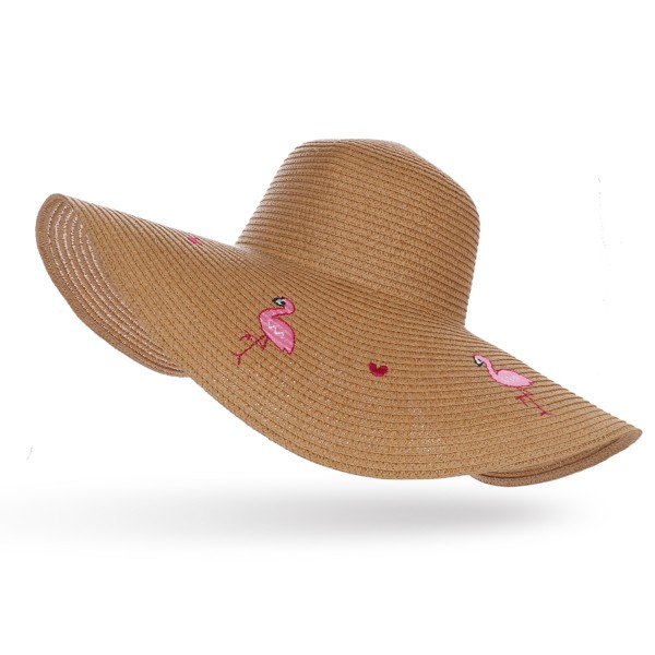 "XXL Straw Hat ""Flamingo"" Heart Embroidery Ladies Summer Hat Beach"