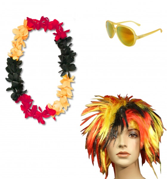 "Party SET ""Germany"" Hawaiian Chain Wig Sunglasses Costume Party Worldcup"