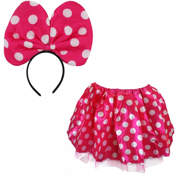 "SET ""Mouse"" Skirt and Alice Band Dots Pink Carneval Costume"