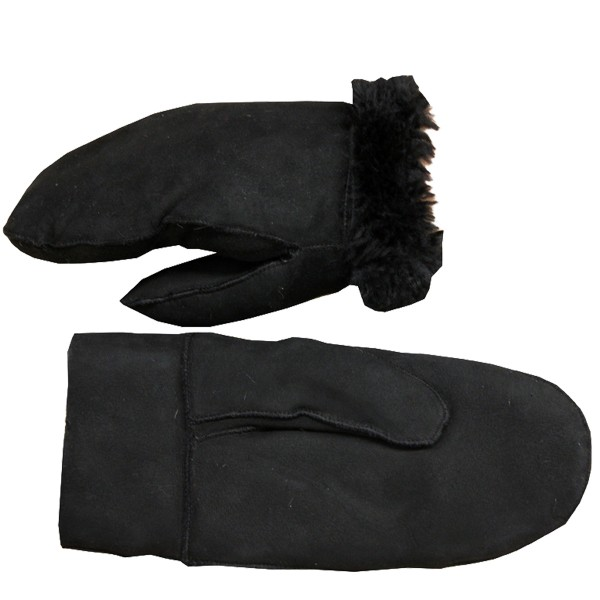 Mitten Leather Lambfur Gloves Ladies Gents Winter