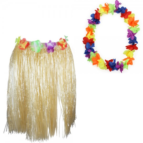 "SET ""Hawaiian Chain and Skirt"" Hula Fringes Flower Carneval"