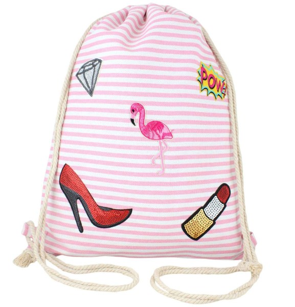 "Patch Rucksack ""Flamingo"" Gymbag Turnbeutel"