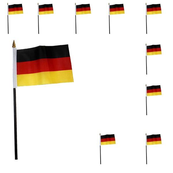 10er SET Mini Flaggen WM Fußball 10x15 cm Party Anfeuern Fahnen