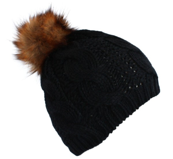 Knitted Hat Winter Faux Fur Bobble Uni