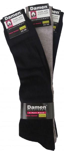 3 Pairs Knee Socks Unisex Uni Color Cotton