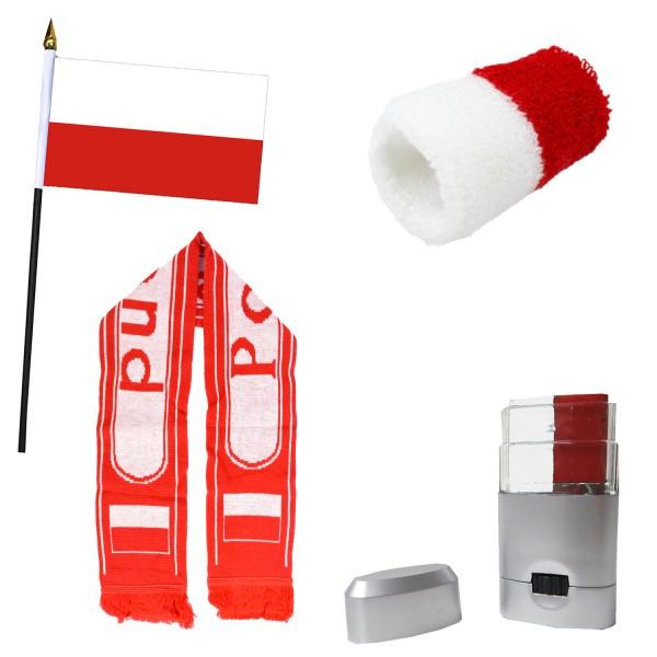 Fan-Paket-14 WM Länder Fußball Schal Schminke Schweißband Mini Flagge