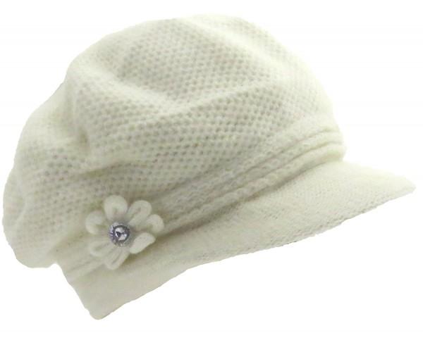 Ladies winter cap Angora Flower Winter Hat Women White